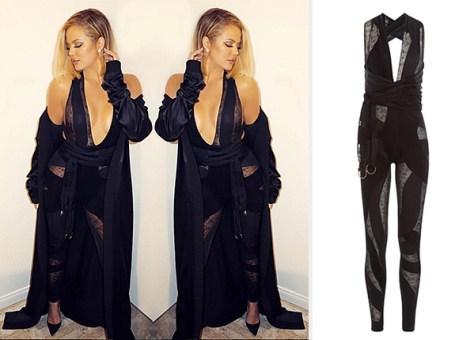 Roberto Cavalli Jumpsuit With Sheer Inserts as seen on Khloe Kardashian