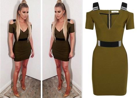 Mugler Cutout Embellished Stretch-Crepe Mini Dress as seen on Khloe Kardashian