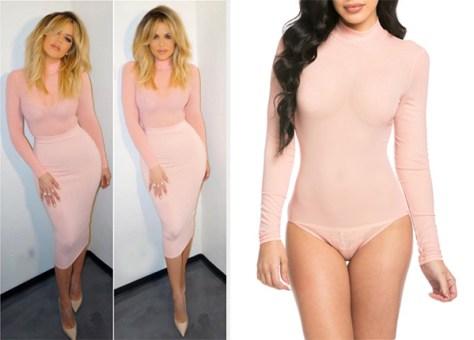 Love x Labels Sheer Turtleneck Bodysuit in Blush as seen on Khloe Kardashian