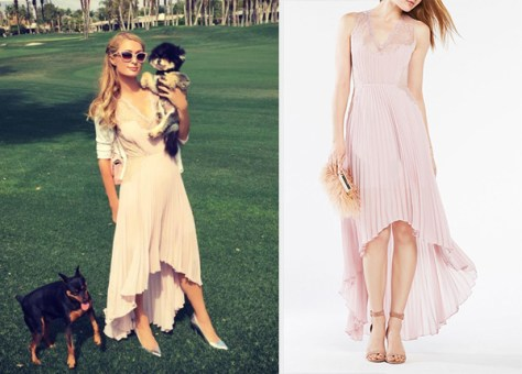 BCBGMAXAZRIA Angelea Pleated High-Low Dress as seen on Paris Hilton
