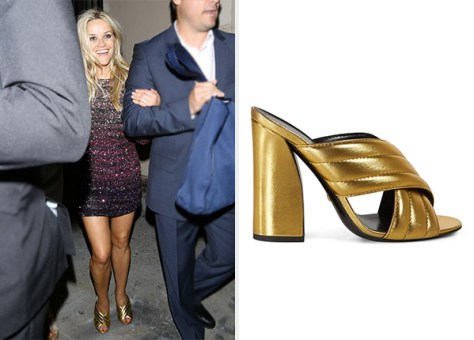 Gucci Metallic Gold Crossover Sandals as seen on Reese Witherspoon