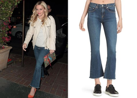Rag & Bone Crop Flare Jeans in Paz as seen on Reese Witherspoon