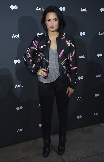 Giamba Lipstick-Print Bomber Jacket as seen on Demi Lovato at 2016 AOL NewFront