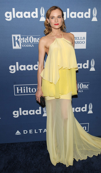 Prabal Gurung Jasmine Silk Halter Top and Skirt in Yellow as seen on Diane Kruger