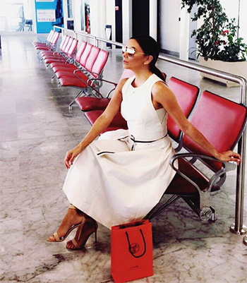 Brunello Cucinelli Butter Midi Dress w/ Monili-trim Belt as seen on Eva Longoria