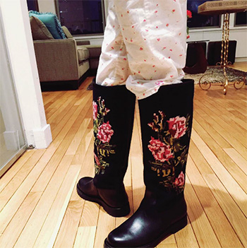 Katie Holmes wearing Saint Laurent Leather And Embroidered Canvas Rain Boots
