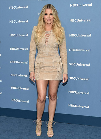 Balmain Suede Lace Up Dress as seen on Khloe Kardashian at NBC Universal Upfronts 2016 in NYC
