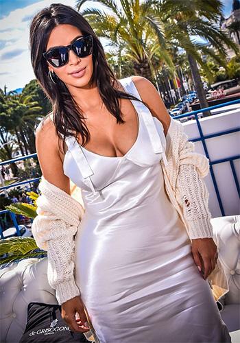 Saint Laurent Distressed Cardigan as seen on Kim Kardashian in Cannes 2016