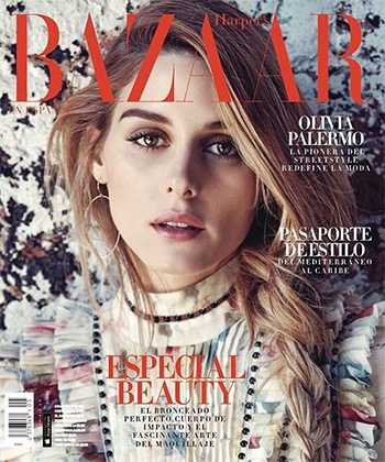 Olivia Palermo in Zimmermann Mischief Floral Pleated Silk Dress for Harper's Bazaar 2016