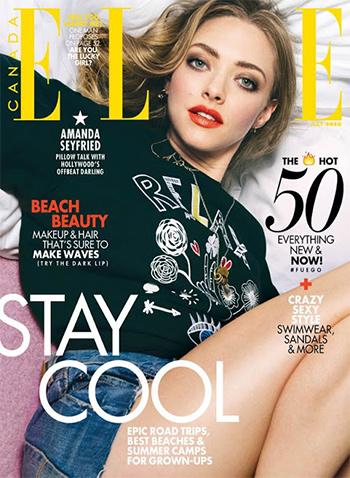 Amanda Seyfried wears a Sandro True Love Graphic Sweatshirt for Elle Canada July 2016.