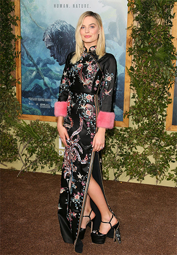 Margot Robbie wears a Gucci dress and Gucci Feline Head Detail Angel Platform Pumps to the Hollywood premiere of The Legend of Tarzan on June 27, 2016.