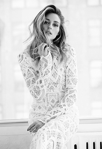 Olivia Palermo wearing a Jonathan Simkhai Long Sleeve Tower Lace Gown for Harper's Bazaar Mexico, June 2016.