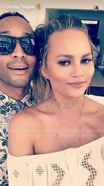 Chrissy Teigen wears a Tularosa Aiken Top to the REVOLVE Fourth of July Party in The Hamptons on July 4, 2016.