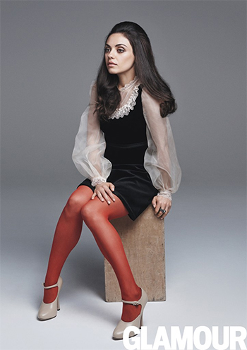 Mila Kunis wears Gucci dress and shoes and Wolford Velvet Deluxe 66 Tights in Hawthorn for Glamour Magazine, August 2016.