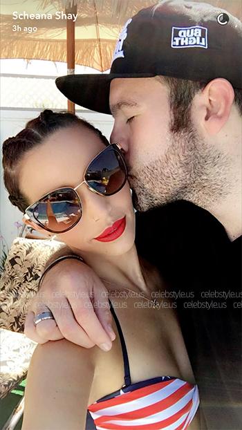 Scheana (Marie) Shay wears a pair of Dolce & Gabbana DG2107 Brown Cat Eye Sunglasses on July 4, 2016.