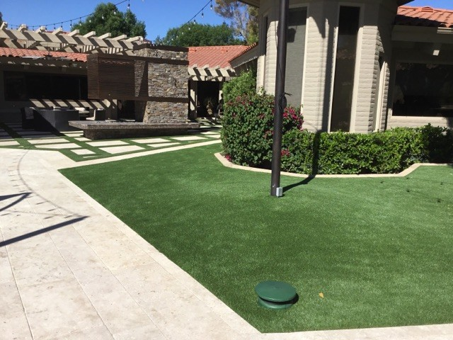 Commercial artificial grass landscaping
