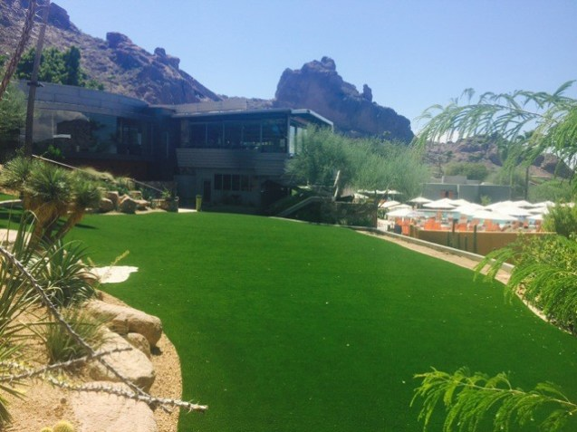 Artificial grass lawn with view of Camelback Mountain.