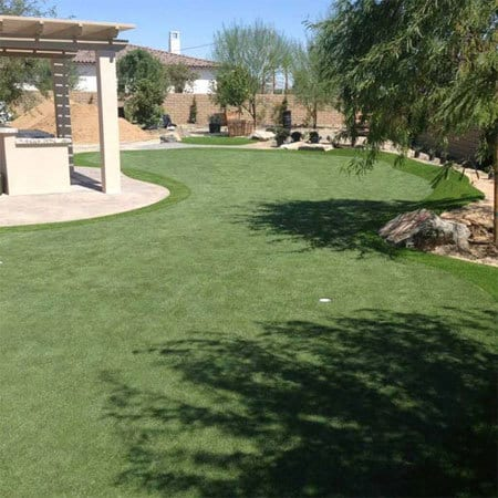 Backyard synthetic golf green in Phoenix