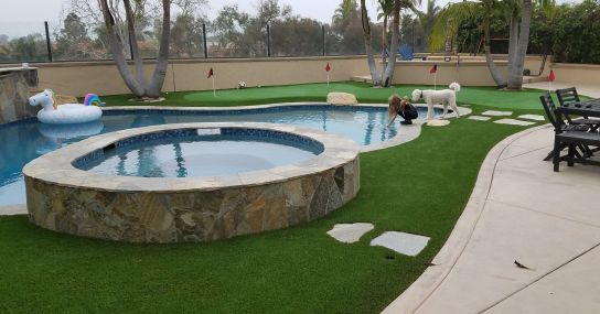 backyard artificial grass landscaping and putting green