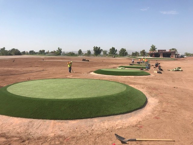 Celebrity Greens artificial grass golfing crews put finishing touches on ASU target putting greens