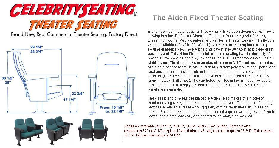 2 seat theater chairs keter high chair alden seating specification page auditorium seats basic specs