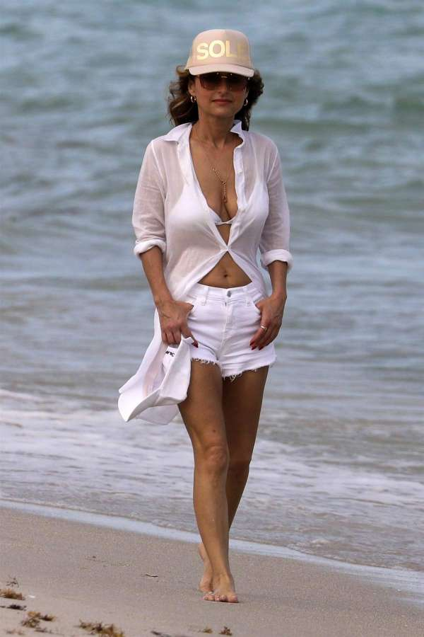 Giada De Laurentiis Wears White Bikini Top With Matching
