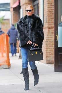 Rosie Huntington-whiteley Chic In Black Fur Coat