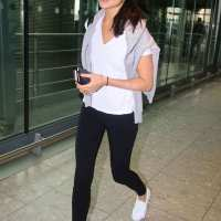 Israeli actress Gal Gadot at Heathrow Airport in London
