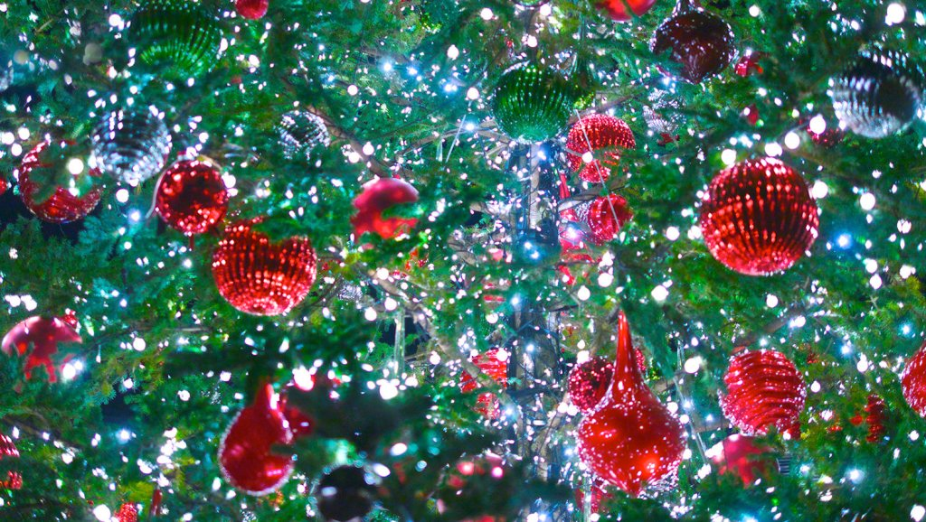 Christmas Lights In A Xmas Tree Decoration