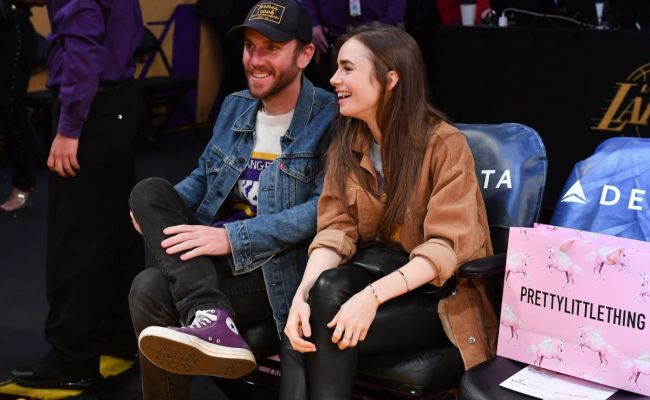Lily Collins At Cleveland Cavaliers Vs Los Angeles Lakers
