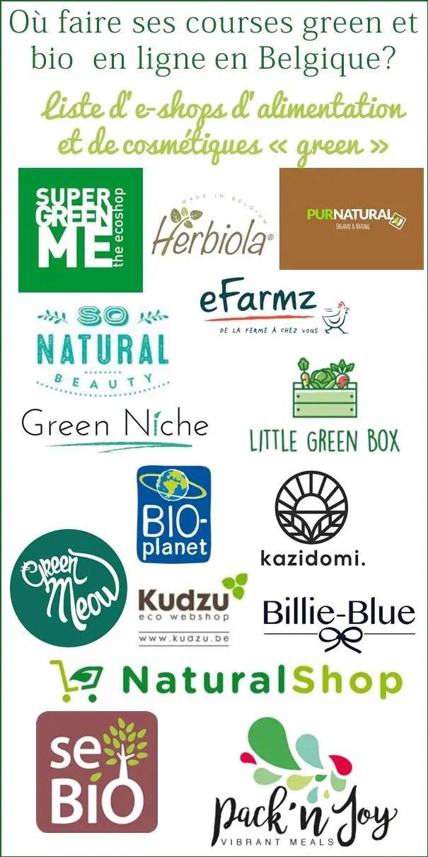 Liste d'eshops belges pour faire ses courses en ligne bio et green