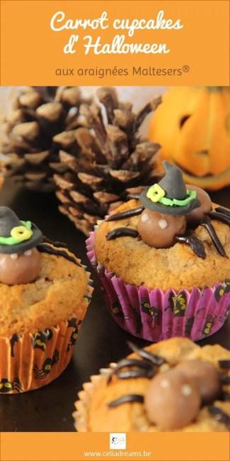 Recette de carrot cupcakes d'Halloween aux araignées Maltesers