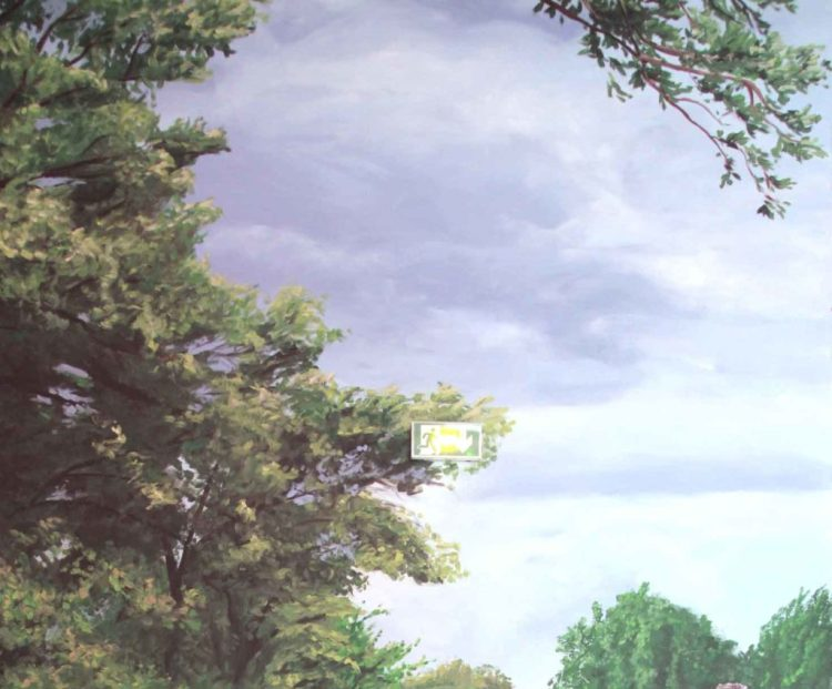 Mur Peint Ciel et arbres