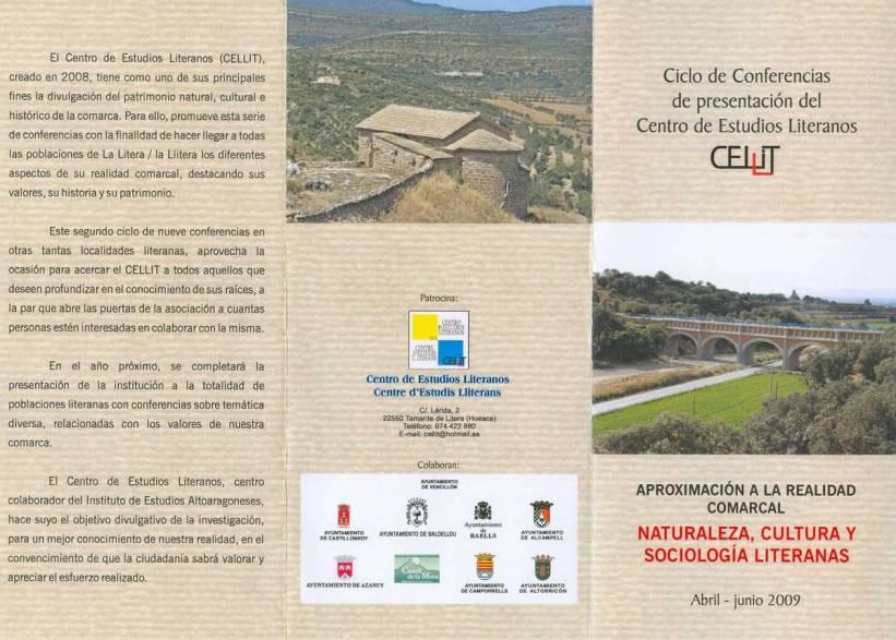 Tríptico (exterior) del ciclo de conferencias 'Aproximación a la realidad comarcal' 2009