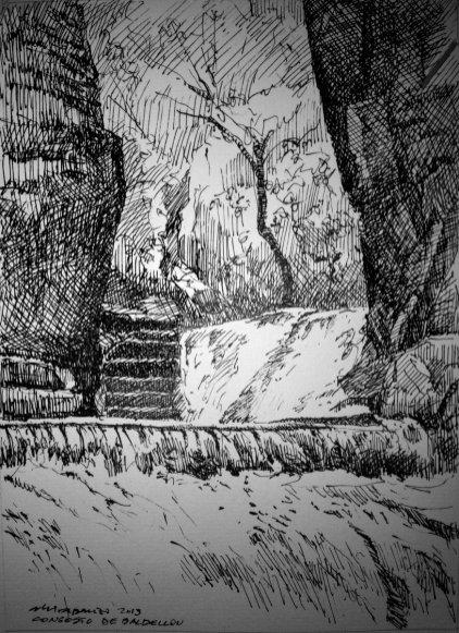 Barranco de Baldellou (plumilla de Fernando Alvira)