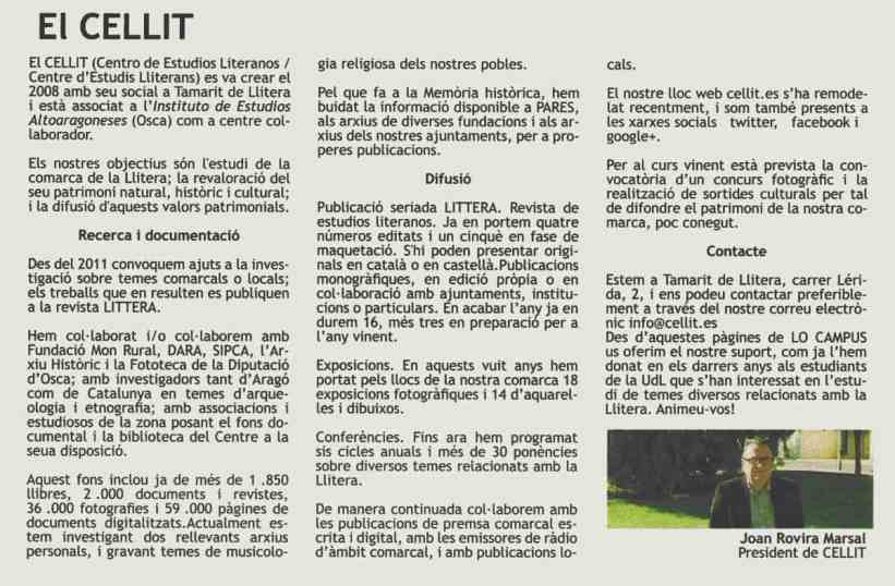 «El CELLIT», en 'LO CAMPUS. El periòdic universitari de Catalunya', diciembre 2016