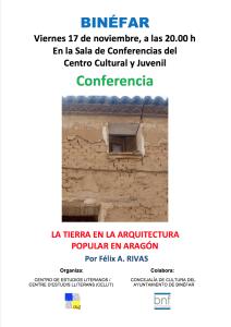 Cartel de la conferencia «La tierra en la arquitectura popular en Aragón»