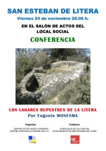 Cartel de la conferencia «Los lagares rupestres de la Litera»