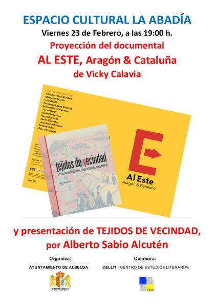 Cartel del acto 'Dicen que hay tierras al Este' en Albelda