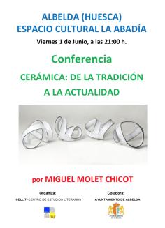 Cartel de la conferencia «Cerámica: de la tradición a la actualidad»