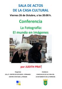 """Cartel de la conferencia """"La fotografía: el mundo en imágenes"""""""