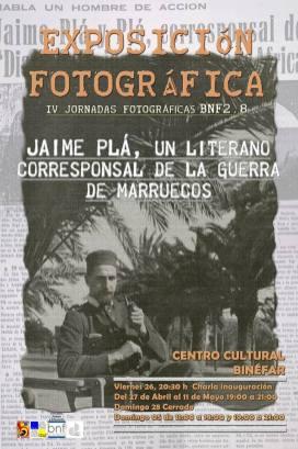 Cartel de la exposición 'Jaime Pla, un literano corresponsal en la guerra de Marruecos' en Binéfar