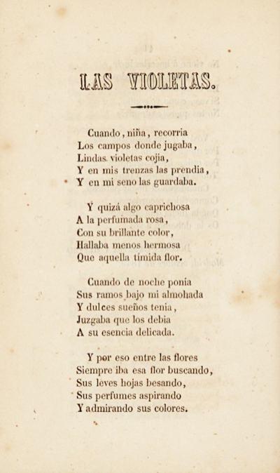 Inicio del poema «Las violetas» en el libro homónimo