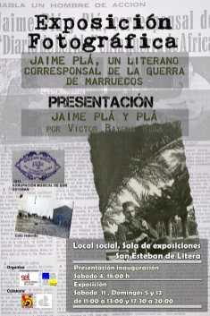 Cartel de la exposición 'Jaime Pla, un literano corresponsal en la guerra de Marruecos' en San Esteban de Litera
