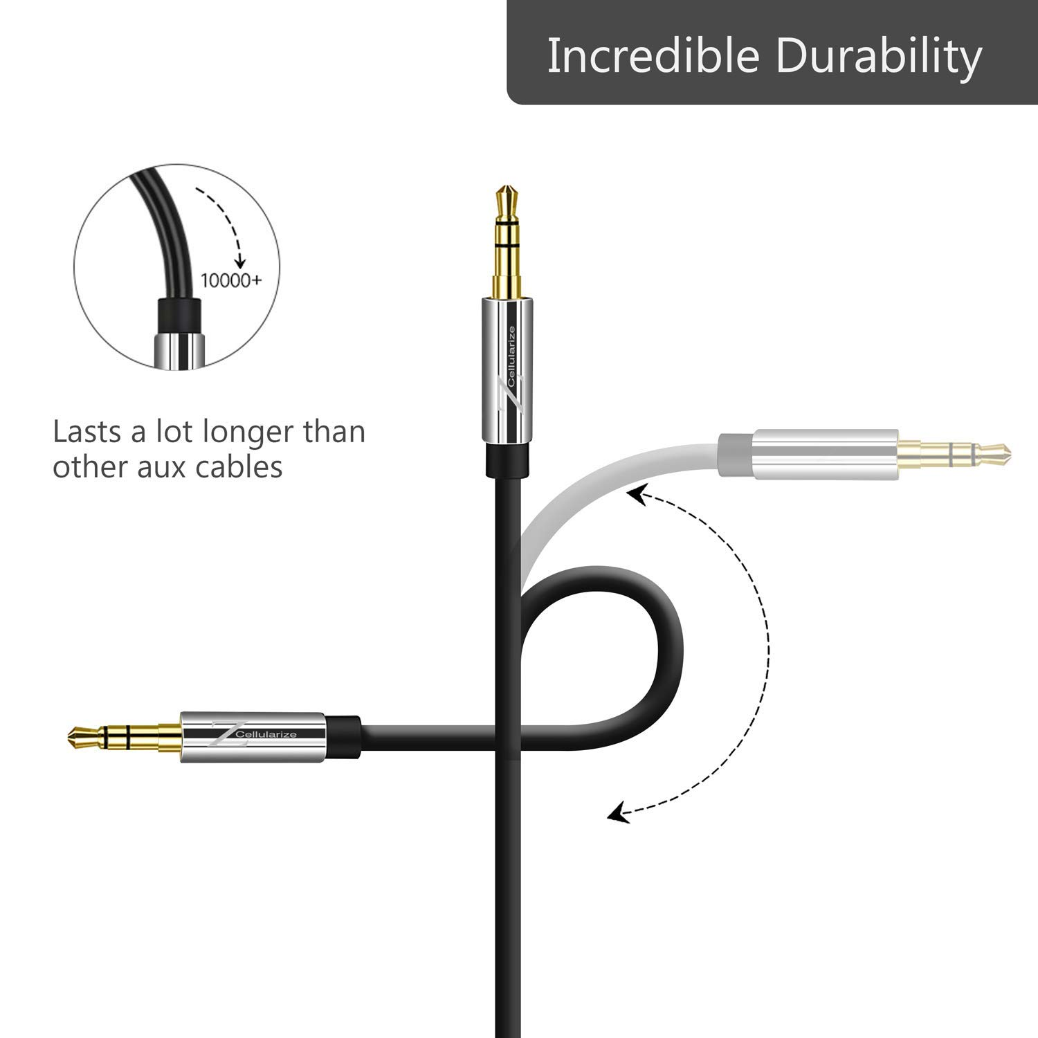 Aux Cable For Car Cellularize 4ft 2 Pack 3 5mm