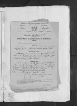 1871 Marriage Record Italy Italian