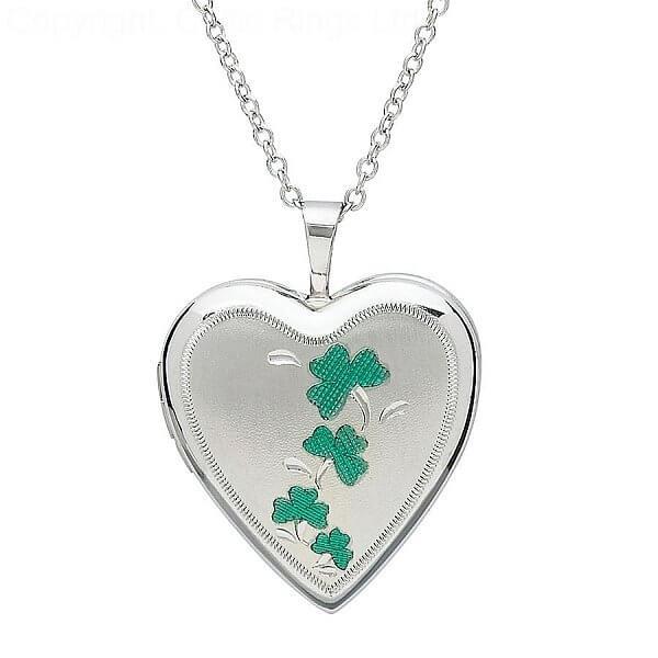 Silber Kleeblatt Herzform Medaillon  Celtic Rings Ltd