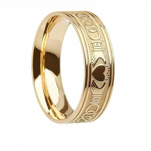 Mens 10K14K Gold Irish Claddagh Wedding Ring