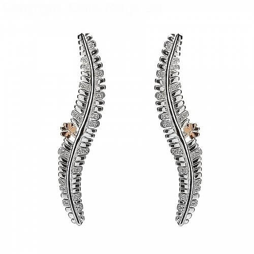 Silber und Rosgold Fern Ohrringe  Celtic Rings Ltd
