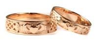 Irish 9 Ct Yellow Gold Claddagh Wedding Ring Set.   Celtic ...